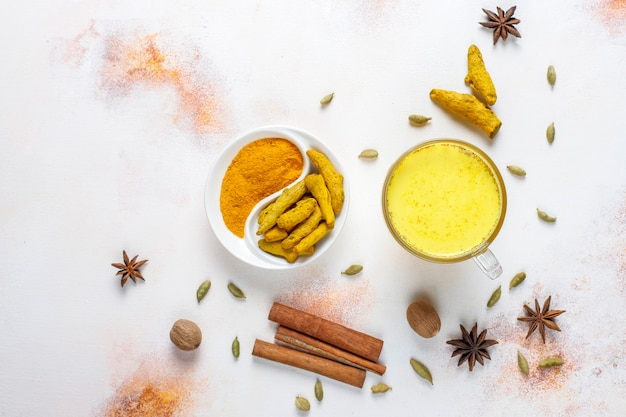 Traditional indian drink turmeric golden milk. Free Photo