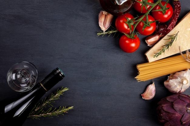 Traditional ingredients of italian cuisine Premium Photo
