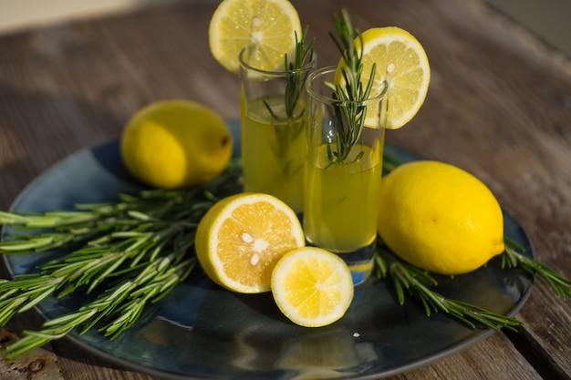 Traditional italian alcoho drink limoncello Premium Photo