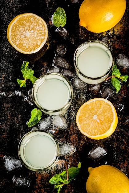 Traditional italian alcoholic homemade beverage, lemon liqueur limoncello with fresh citrus, ice and mint, on rusty black table,  top view Premium Photo