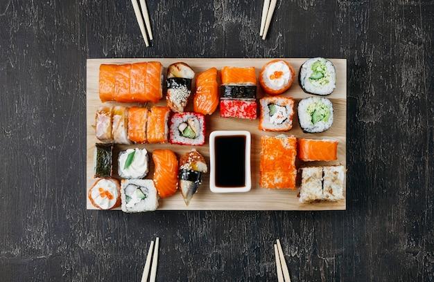 Traditional japanese sushi arrangement Free Photo