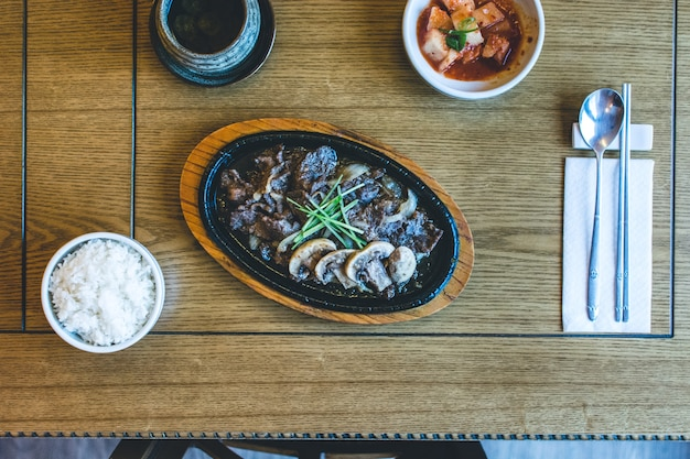 Traditional korean bulgogi barbecue beef meat Free Photo