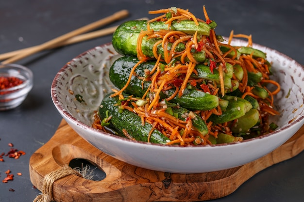 Traditional korean cucumber kimchi snack: Premium Photo
