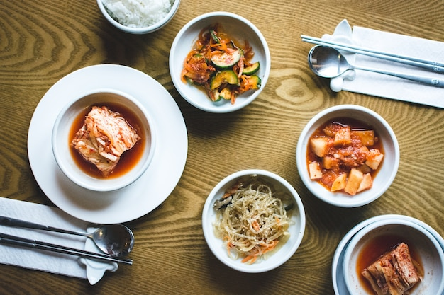 Traditional korean food in a restaurant Free Photo