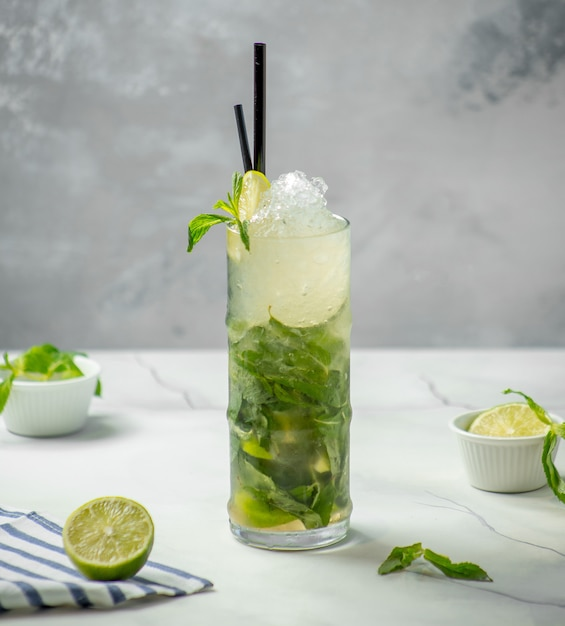 Traditional mojito with ice and mint on the table Free Photo