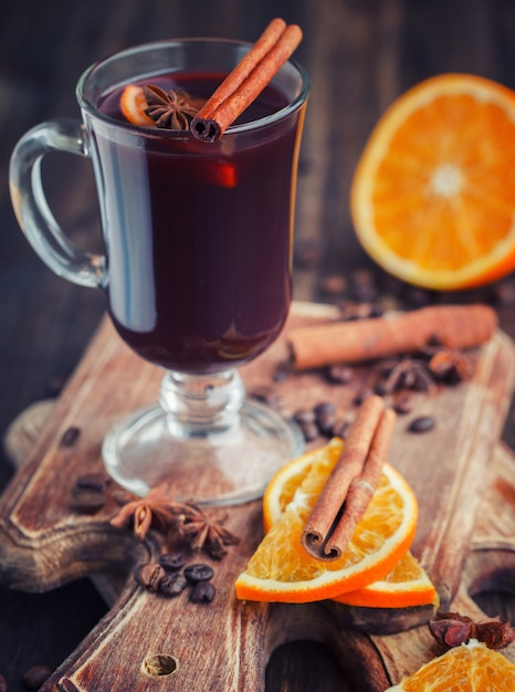 Traditional mulled wine with spices.christmas warming drink Premium Photo