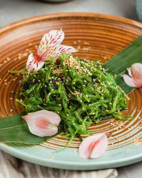 Traditional seaweed vegetable salad Free Photo