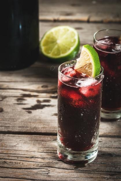 Traditional spanish alcoholic cocktail, calimocho Premium Photo