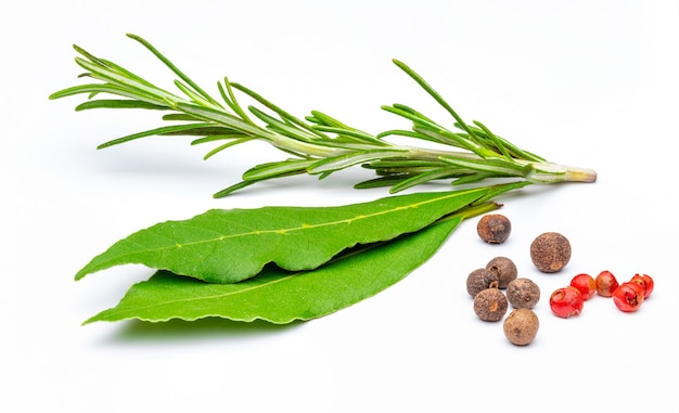 Traditional spices, rosemary branch, bay leaves, black pepper and rose Premium Photo
