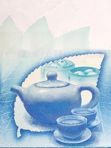 Traditional tea drinking set from hong kong money Premium Photo