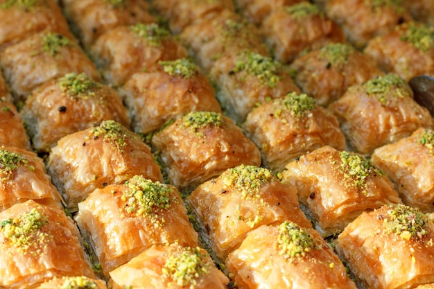 Traditional turkish baklava sweets in the open buffet in a hotel in turkey Premium Photo