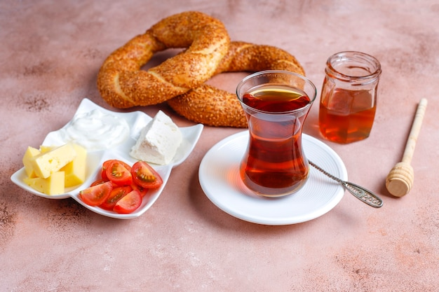 Traditional turkish breakfast. Free Photo
