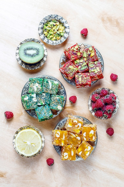 Traditional turkish delight,oriental sweets. Free Photo