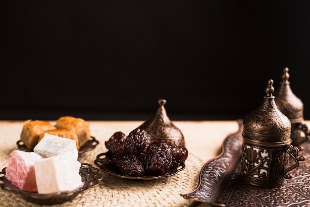 Traditional turkish sweets and coffee set Free Photo