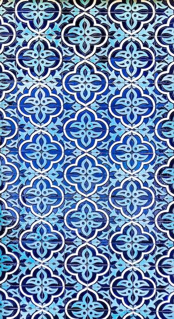 モスクの壁にセラミックタイルの伝統的なウズベキスタンパターン Premium写真