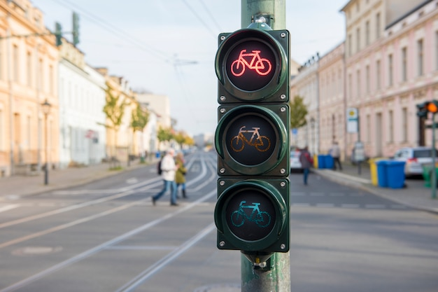 Traffic light for bikes Premium Photo