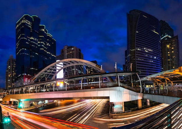 Traffic lighting on sathorn road, business center of bangkok,thailand Premium Photo
