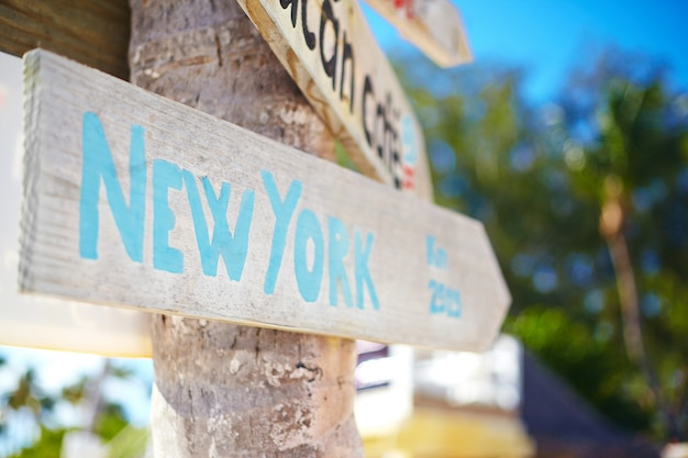 Traffic road sign including of new york on green tropical landscape Free Photo
