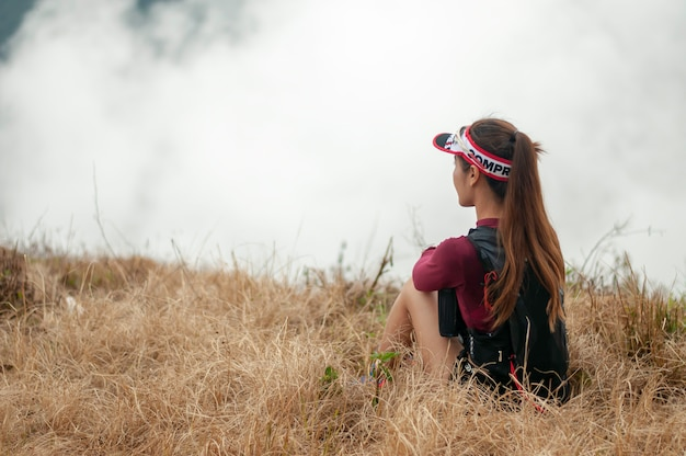 Premium Photo   Trail running girl rest in the mountain.