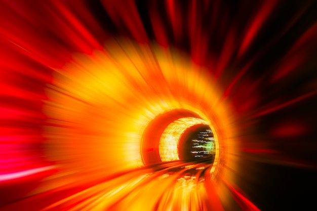 Train moving in tunnel -abstract view Premium Photo