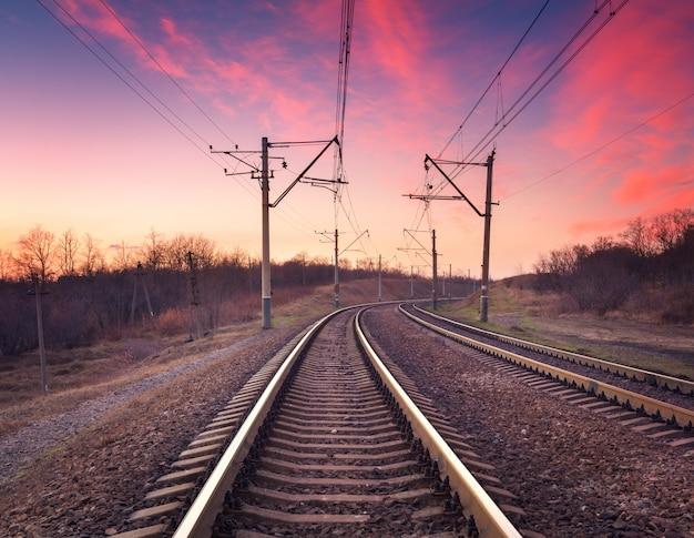 Train platform at sunset. railroad. railway station Premium Photo