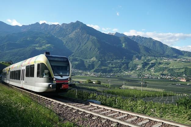 Train running val venosta valley route. Free Photo