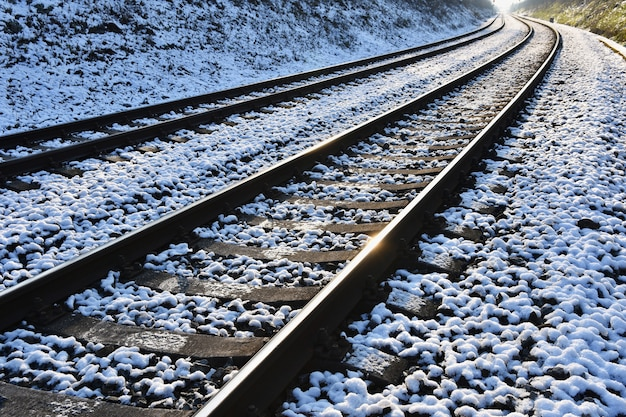 Train tracks. beautiful shot and concept for transportation, train, travel and sunset travel. Free Photo