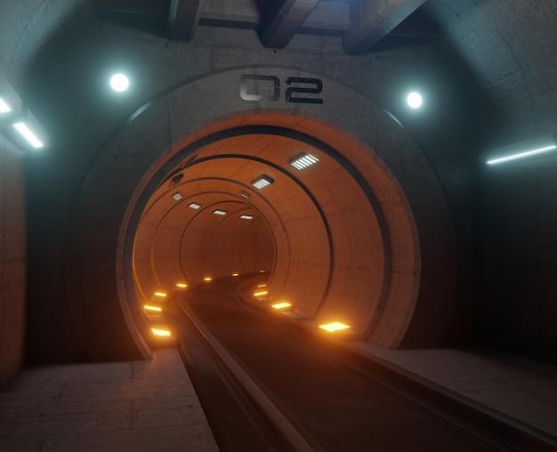 Train tunnel fiction in interior rendering sci-fi,orange tunnel light,3d rendering Premium Photo