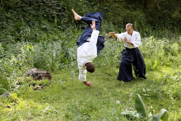 Training martial art aikido Premium Photo