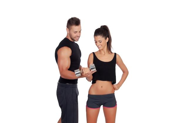 Training with my personal trainer Premium Photo