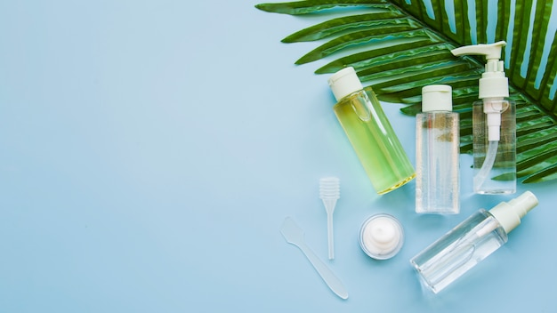 Transparent cosmetics container bottle and cream with green fresh leaf against blue background Free Photo