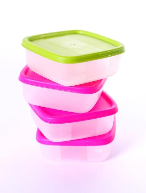 Transparent plastic boxes for storage of products Premium Photo
