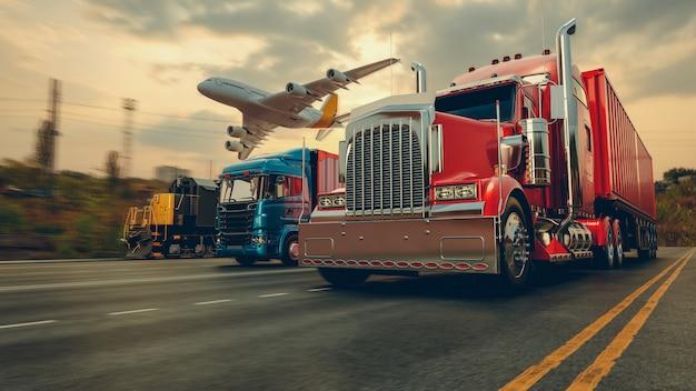 コンテナ貨物船と貨物飛行機の輸送と物流 Premium写真