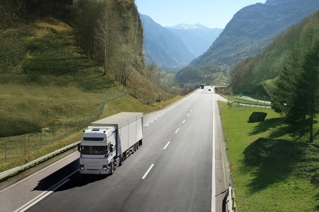 Transportation truck on the road Premium Photo