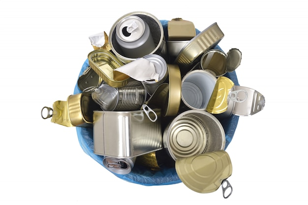 Trash can (tin can food and drink) full of cans on white Premium Photo