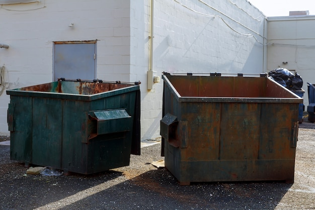 Trash containers for selective rycyclable collection Premium Photo