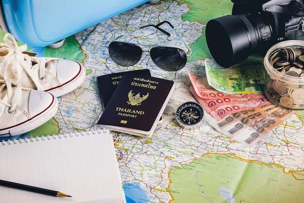 Travel accessories for the travel trip Premium Photo