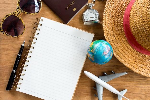 Travel accessories for vacation trip Premium Photo