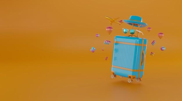 Travel accessories with suitcase. Premium Photo