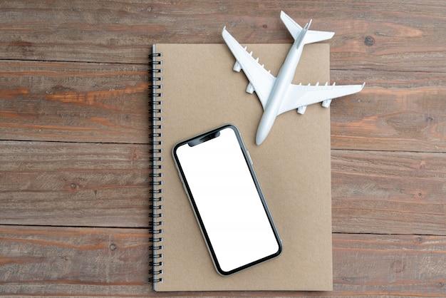 Travel & airplane and white display Premium Photo