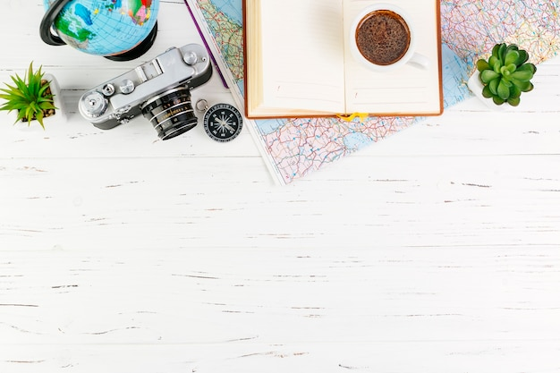 Travel background with accessories and copyspace Free Photo