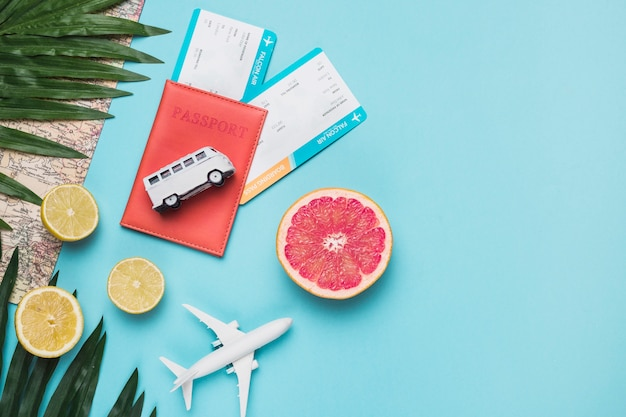 Travel concept with fruits Free Photo