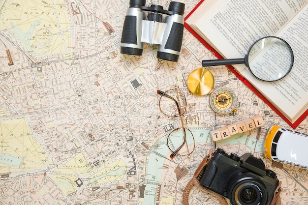 Travel elements on map Free Photo