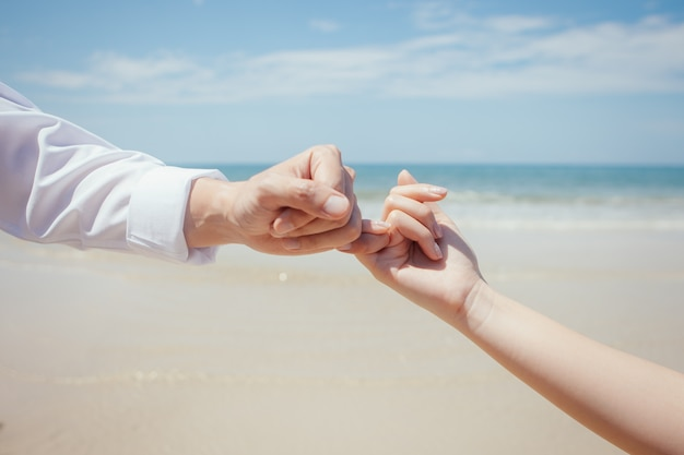 Travel lovers hand in hand each other and pinky swear Premium Photo