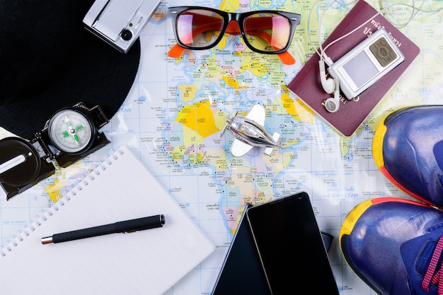 Travel planner with all accessories equipment for travel Premium Photo