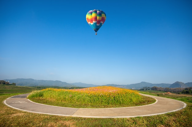 Travel and tourism. colorful hot air balloon flying in the mountains, beautiful flower gardens viewed on the basket in singha park, chiang rai, thailand. Premium Photo
