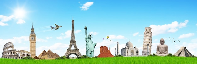 Travel the world monuments concept Premium Photo