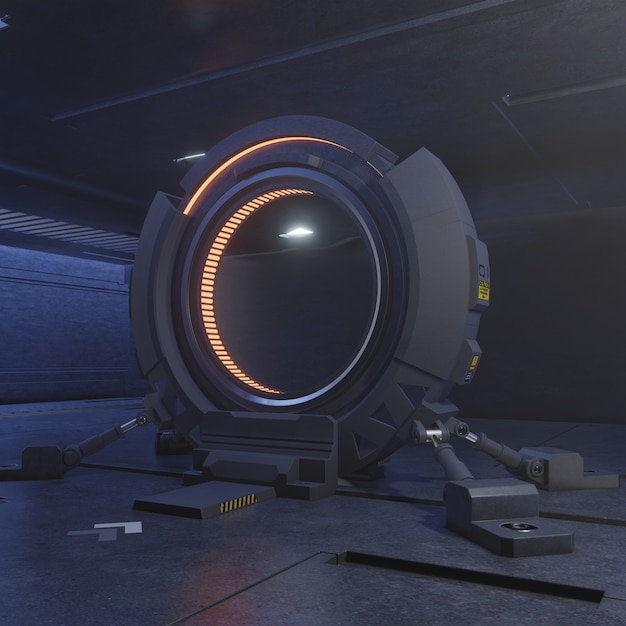Traveling through the door of the future with the speed of light. Premium Photo