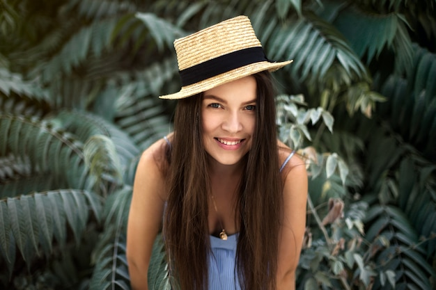 Travels, summer mood, portrait of a girl with a hat Premium Photo