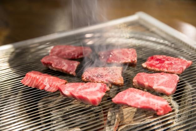 Treaky pork for grilled pork belly, korean style menu, korea traditional and popular food Premium Photo